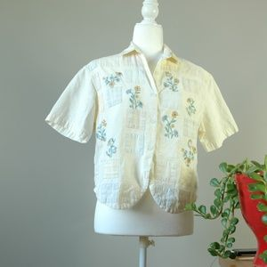 Vintage Casey & Max Embroidered Button Down Shirt